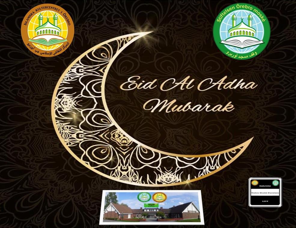 Eid Al-Adha infaller på tisdag den 21 augusti 2018. Må Allah acceptera vår bön och dyrkan! En välsignad Eid Al-Adha önskar er Styrelsen vid Örebro moské. Eid Mubarak! =========================================== - Alternativ.1 Om det är soligt väder så börjar Eid-bönen kl. 9.00. Då ber vi utomhus i moskéns parkering medan systrarna kommer göra Eid-bönen inomhus i moskéns (i Alan) Då ber vi endast en gång. - Alternativ.2 Om det är regnigt väder så kommer vi att be inomhus i Ballonghallen i Vivalla område kl. 09.00. Då kommer systrarna göra Eid-bönen inomhus i moskéns (i Alan) kl.09.00 – ATT TÄNKA PÅ INFÖR EIDBÖNEN: – Tag med bönematta. – Kom tidigt för att få en bra sittplats och därmed slippa sitta utomhus. (Ifall bönen hålls inomhus) – Vi vill uppmana alla vivallabor att gå tillfots till moskén och därmed lämna bilarna hemma! Detta pga. brist på parkeringsplatser och att vi inte ska störa moskéns grannar!– OBS! Felparkerade bilar bötfälls av ansvarigt parkeringsbolag! Vi ber Allah den Allsmäktige att välsigna era dagar och acceptera era goda handlingar!